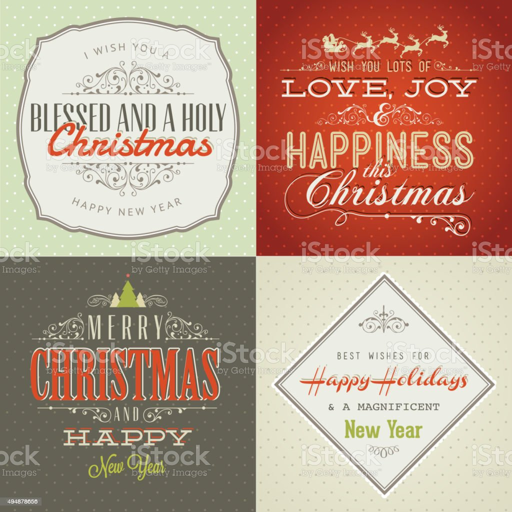 Conjunto de estilo vintage tarjeta de Navidad y Año Nuevo illustracion libre de derechos libre de derechos