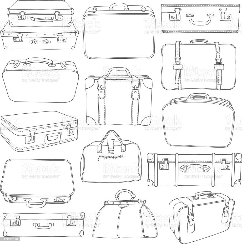 Conjunto de Vintage de Malas-Para design em vetor vetor e ilustração royalty-free royalty-free