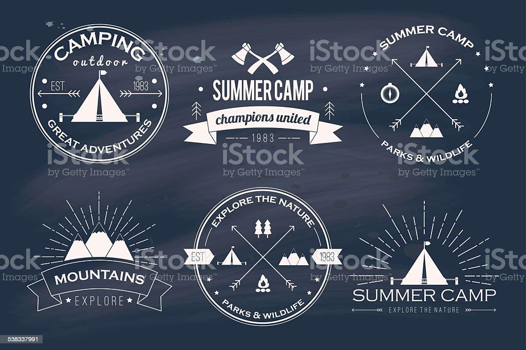 Set of vintage summer camp badges and logos vector art illustration