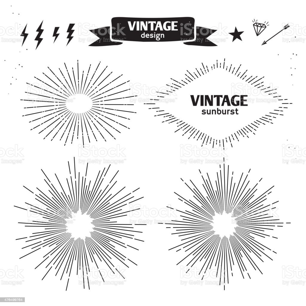 Set of Vintage Sun Burst. Vector monochrome light rays vector art illustration