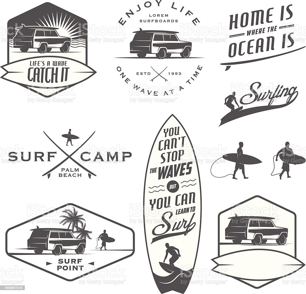 Set of vintage surfing labels, badges and design elements vector art illustration