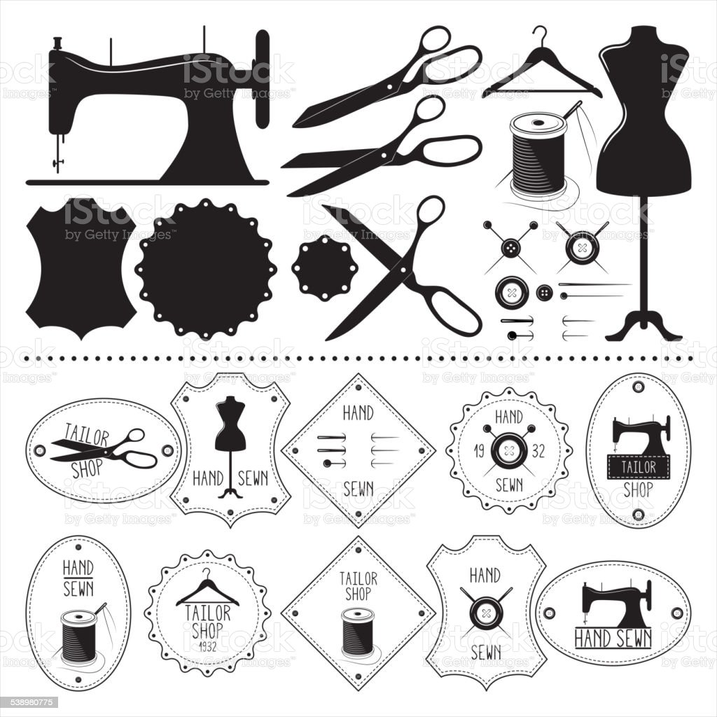 Set of vintage tailor emblems and elements vector art illustration