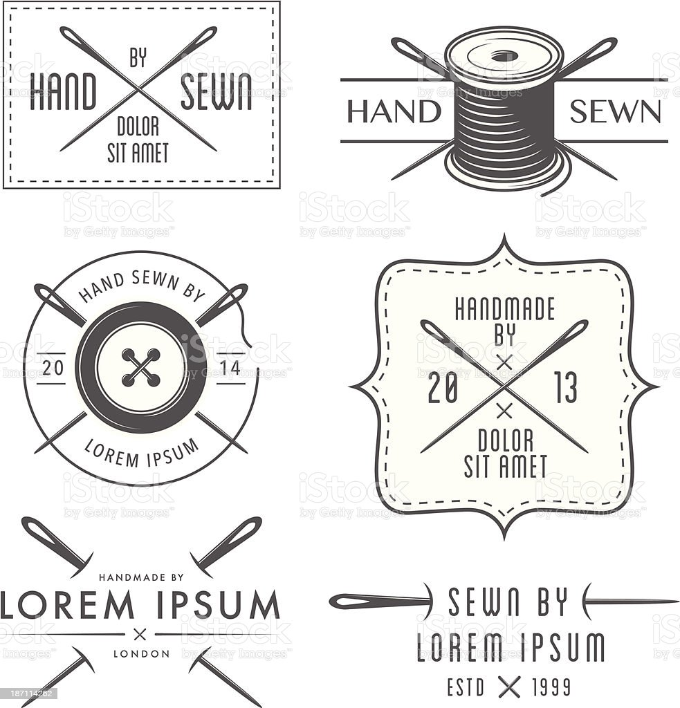 Set of vintage tailor labels and emblems vector art illustration