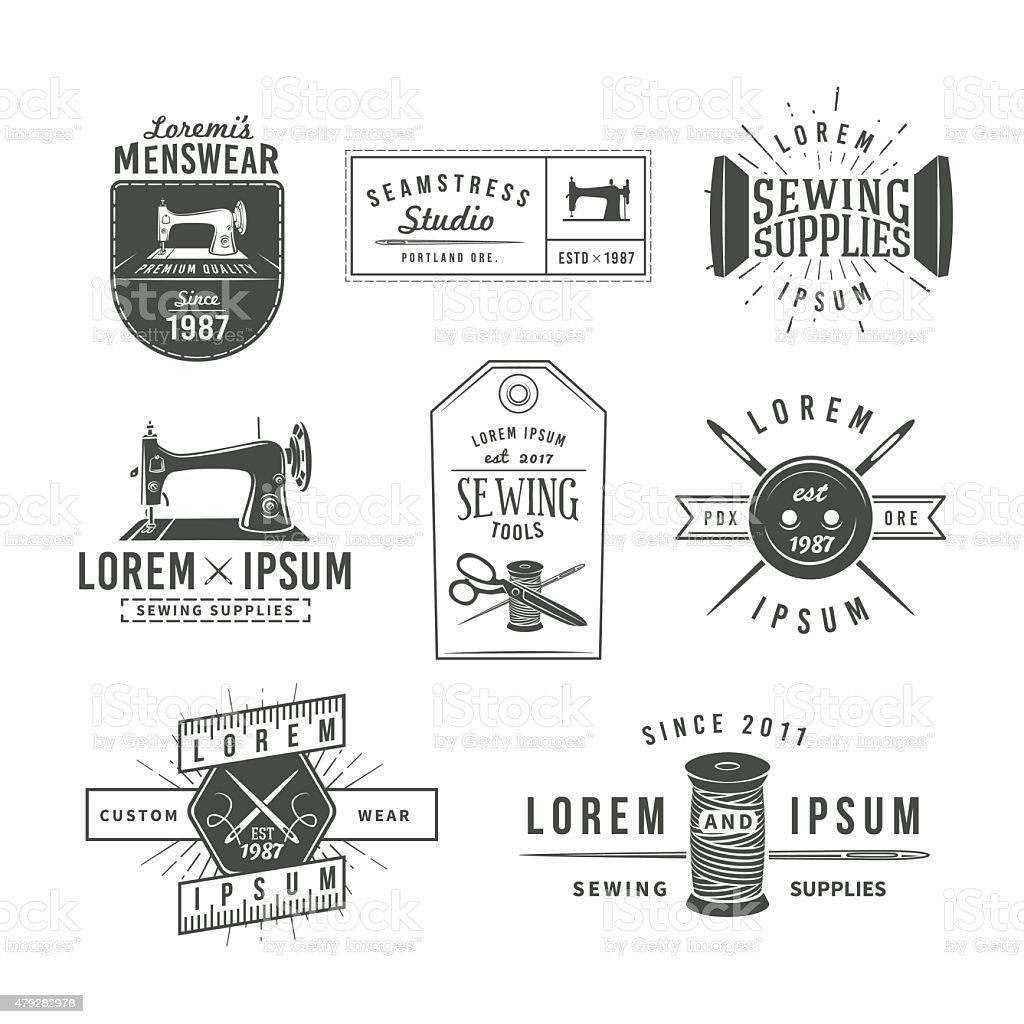 Set of vintage tailor labels, emblems and design elements. Tailor vector art illustration