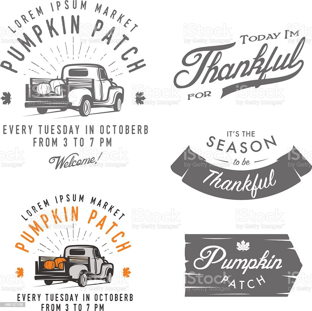Set of vintage Thanksgiving Day emblems, signs and design elements vector art illustration