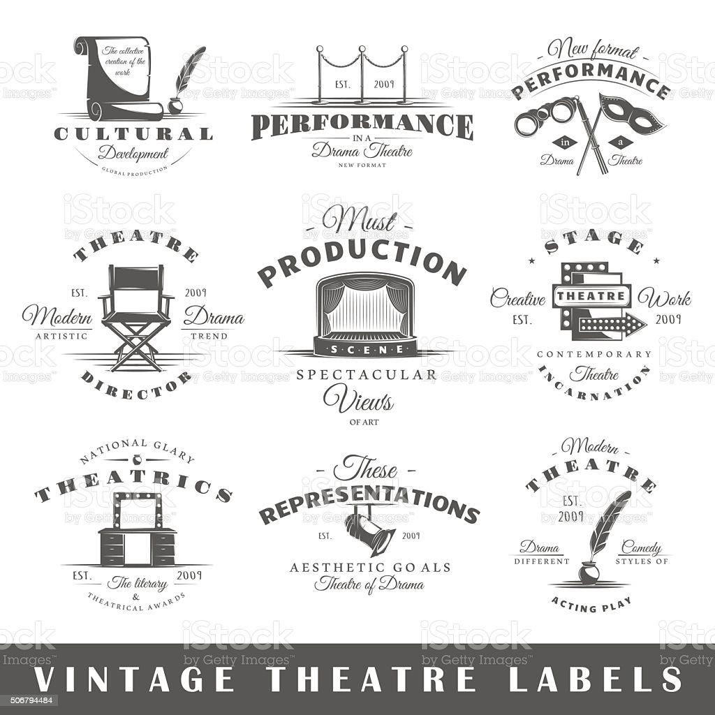 Set of vintage theatre labels vector art illustration