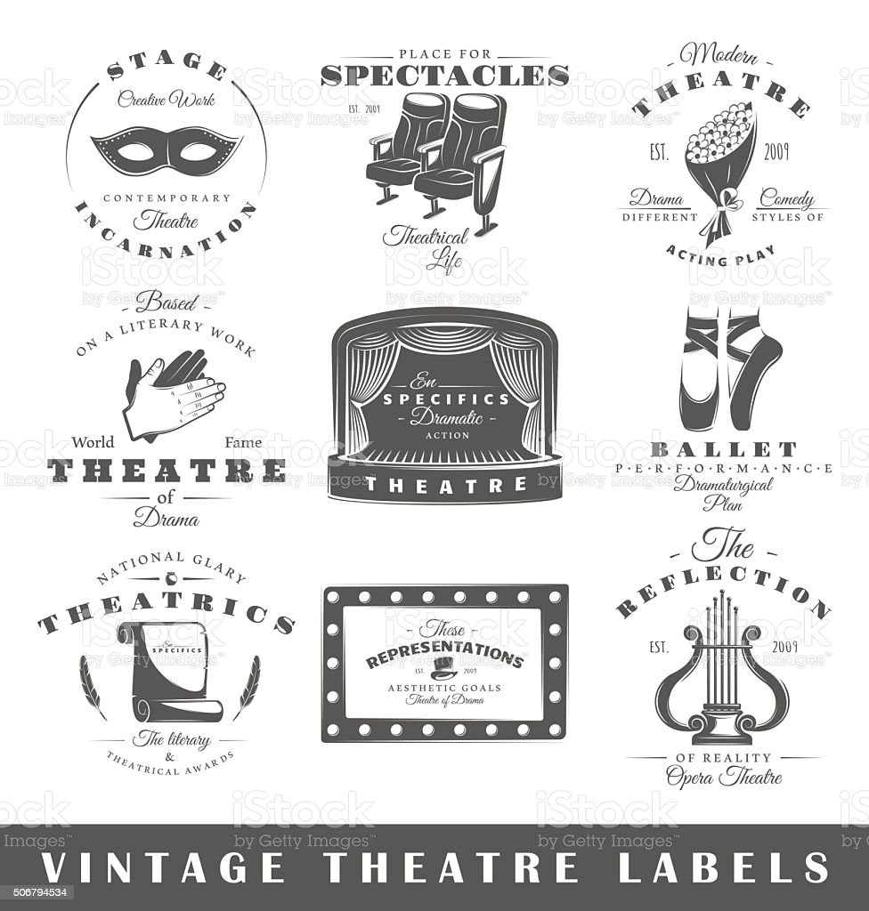 Set of vintage theatre labels vector art illustration