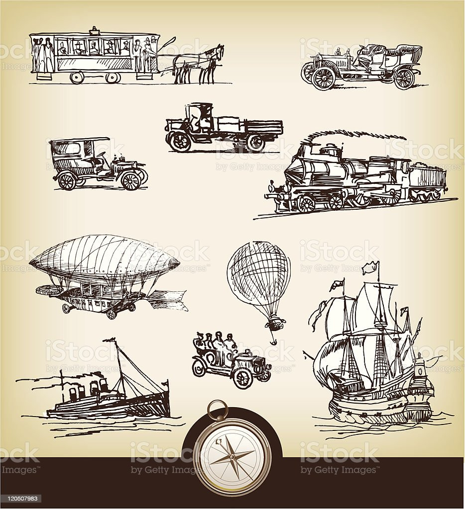 Set of vintage transport royalty-free stock vector art