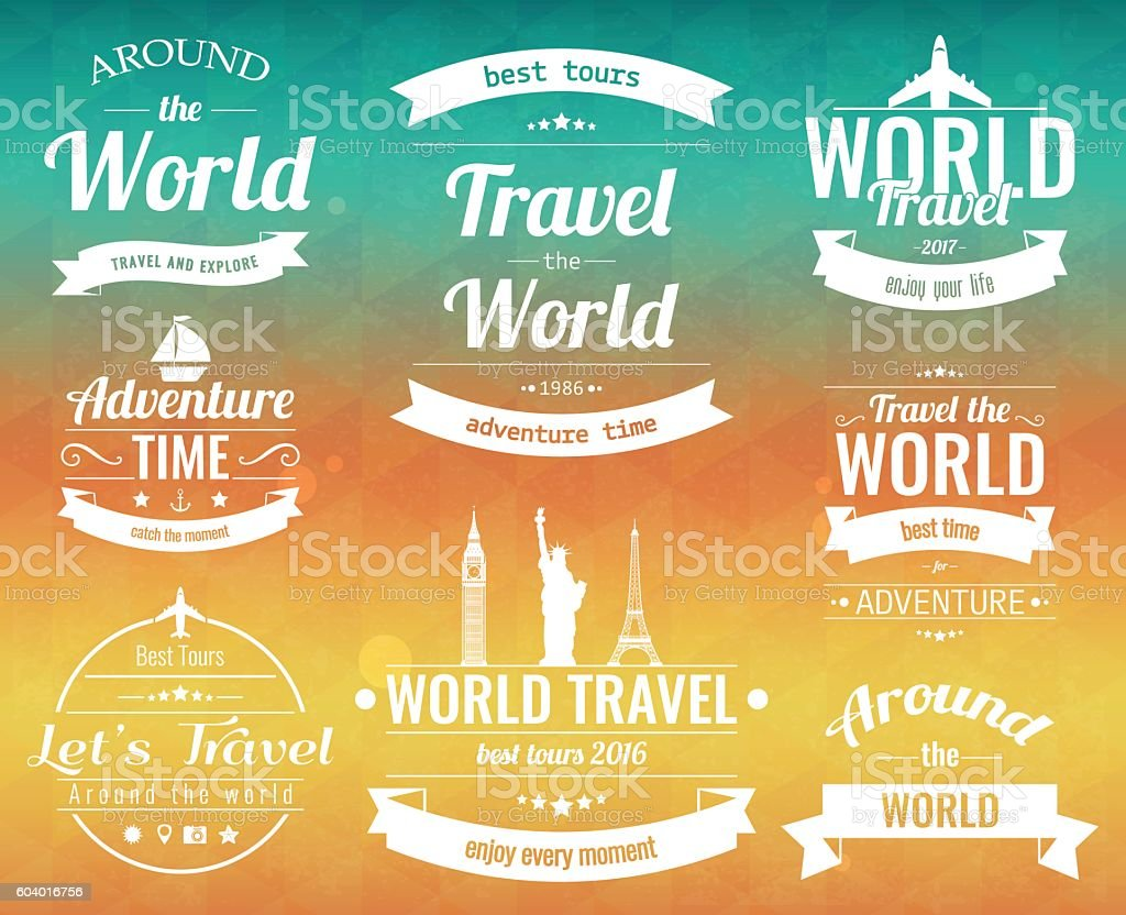 Set of vintage Travel badges and labels. Holiday Elements Icons. royalty-free stock vector art