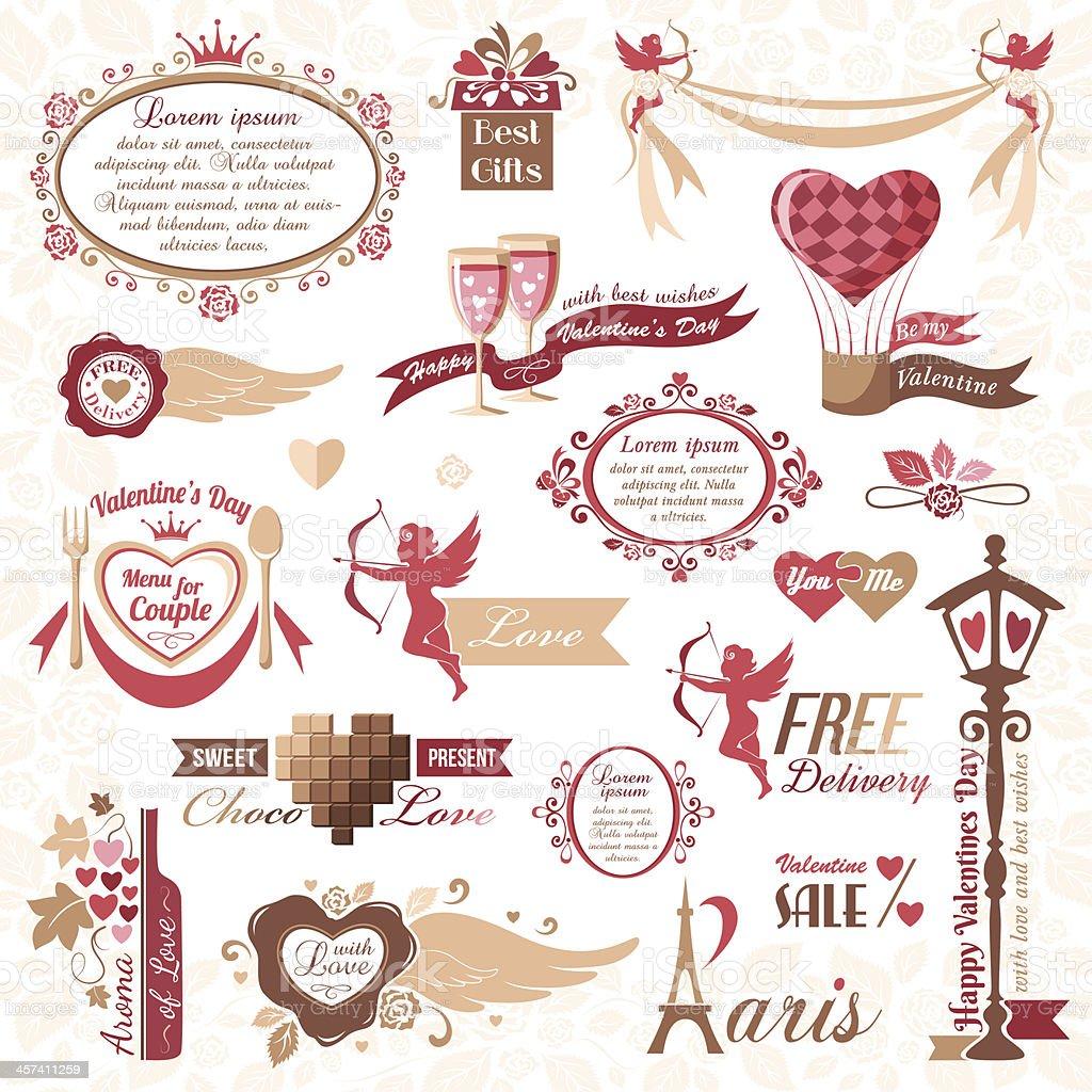 Set of vintage Valentine's Day design elements vector art illustration