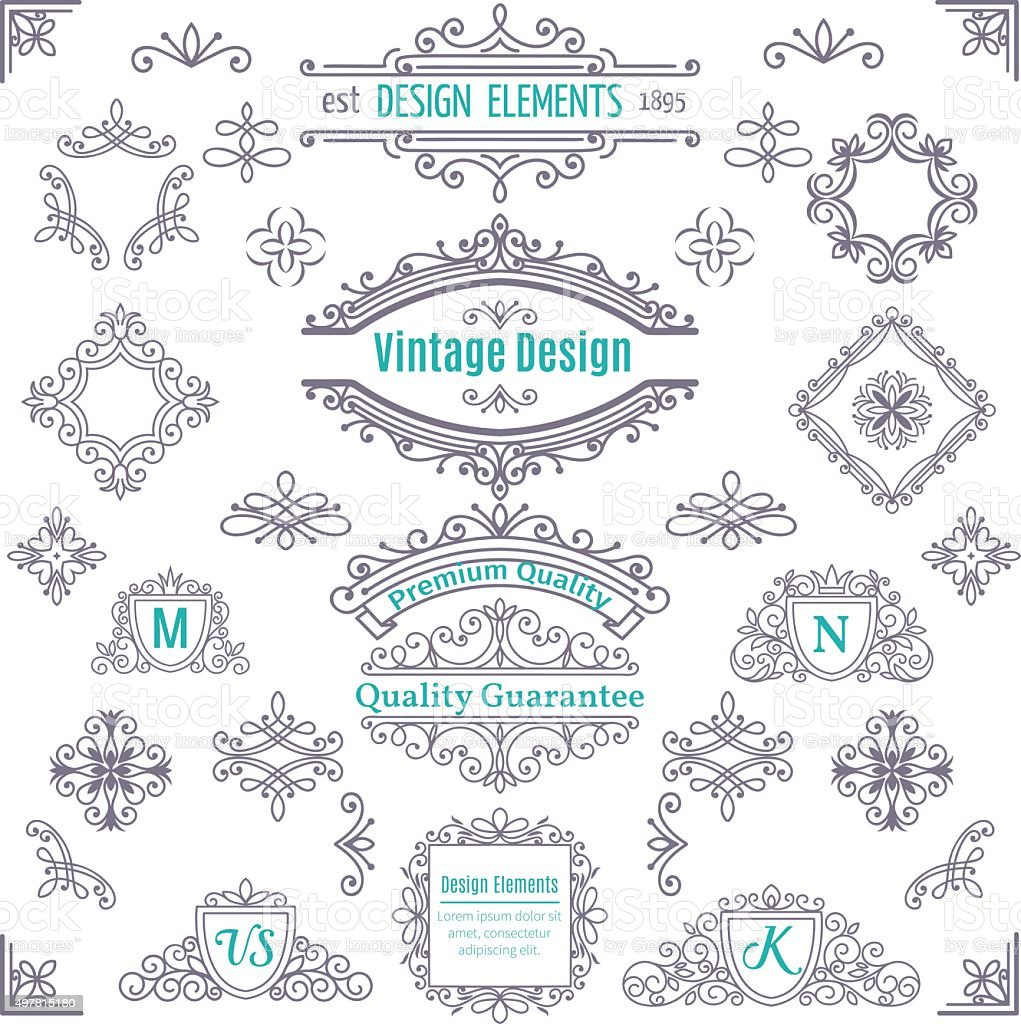 Set of Vintage Vector Line Art Calligraphic Elements . vector art illustration
