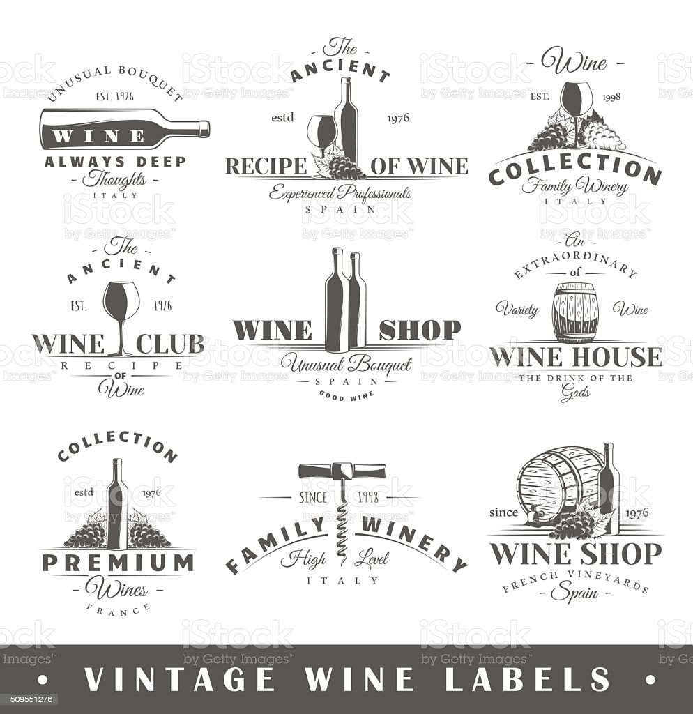 Set of vintage wine labels vector art illustration