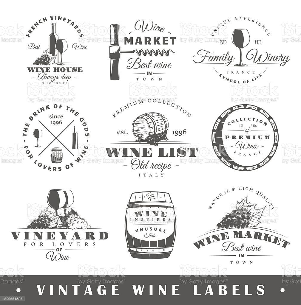 Set of vintage wine labels vector art illustration