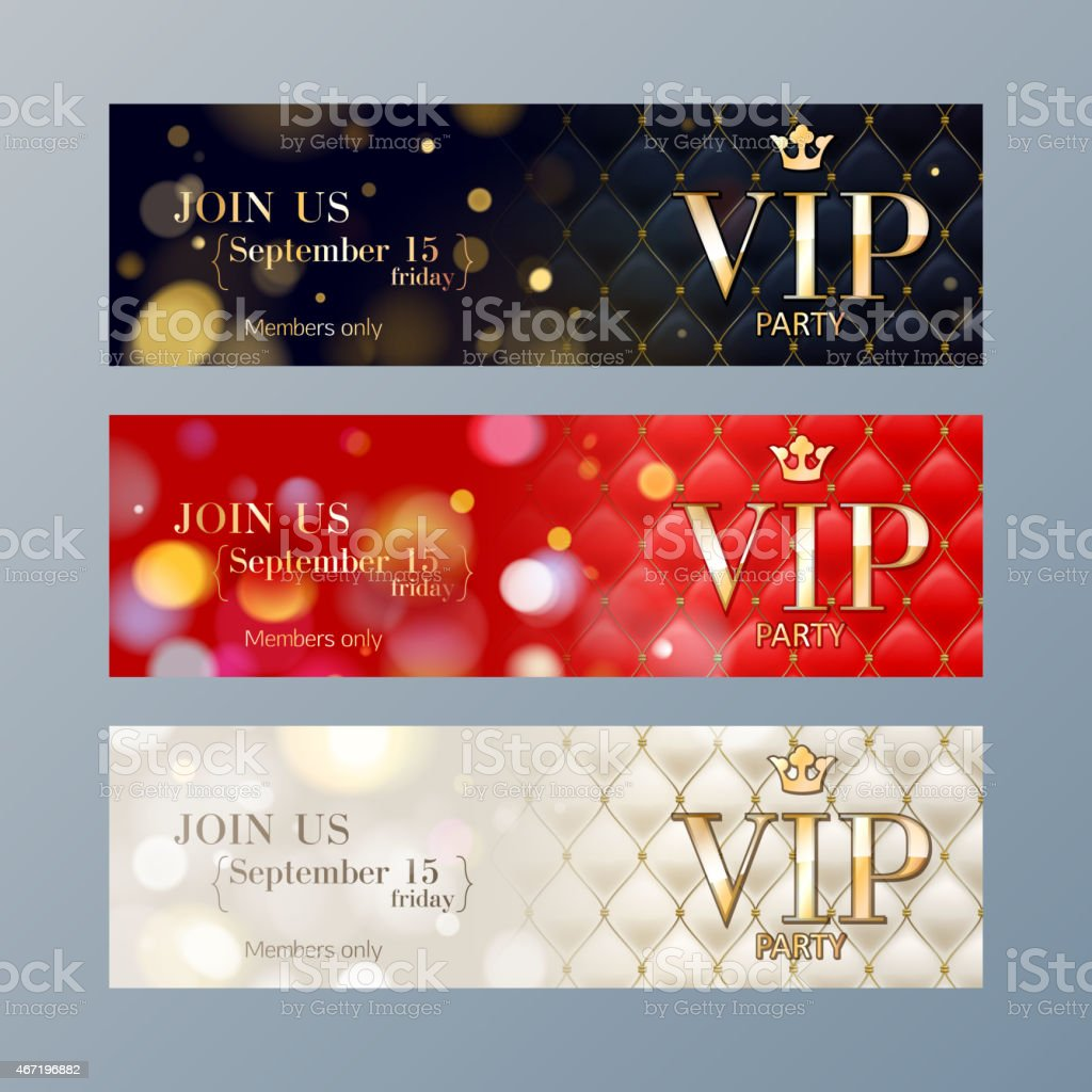Set of VIP party banners templates. vector art illustration