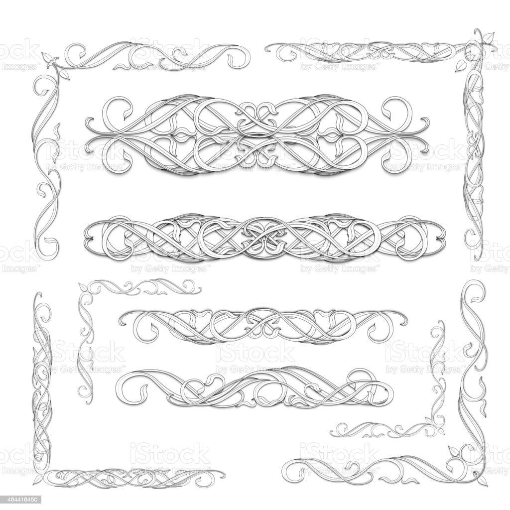 set of vitage elements vector art illustration