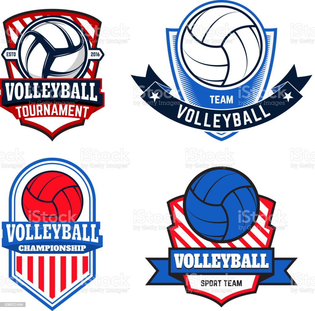 Set of  volleyball labels and emblems for volleyball teams vector art illustration