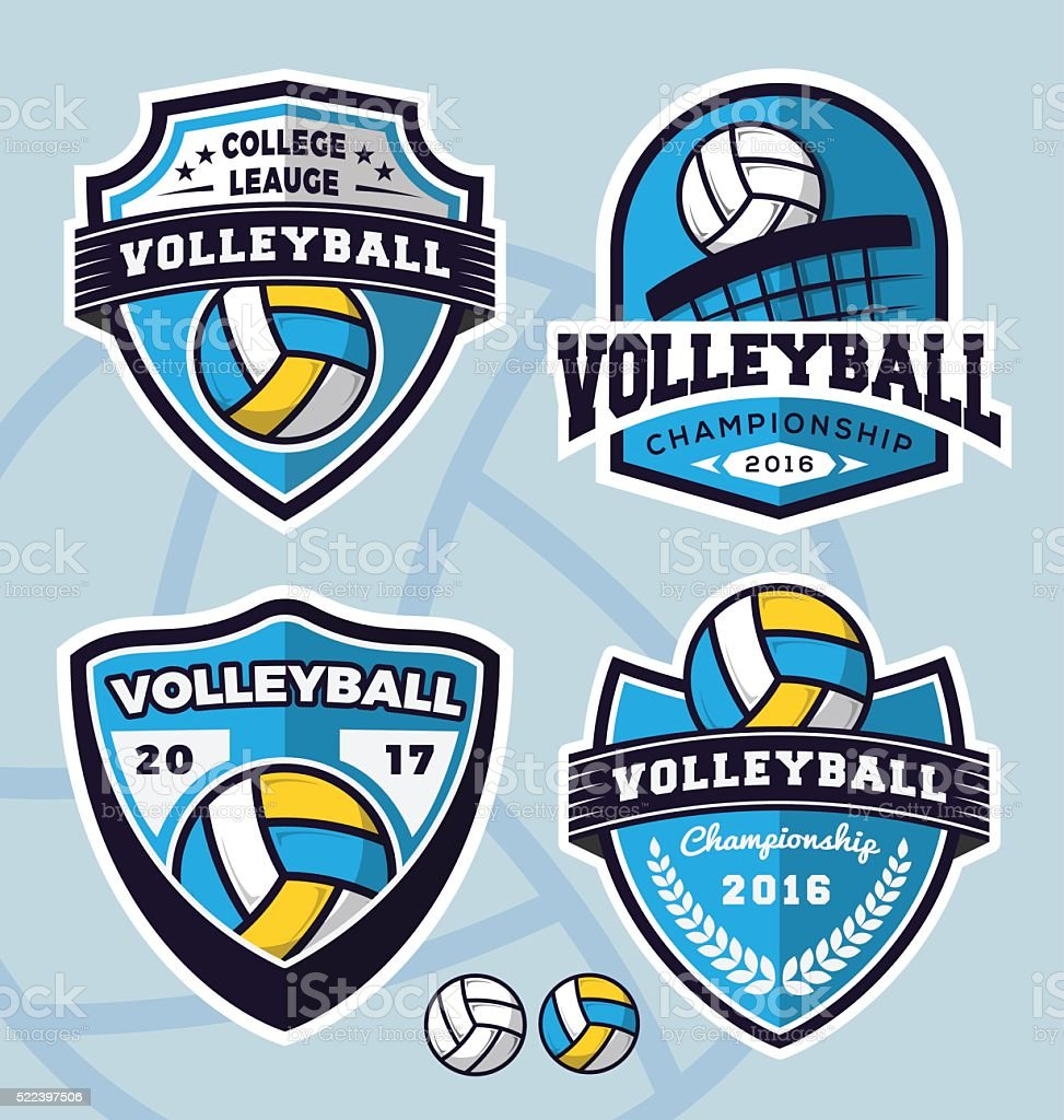 Set of volleyball logo template design vector art illustration