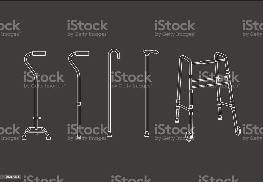 Set of walking sticks royalty-free stock vector art