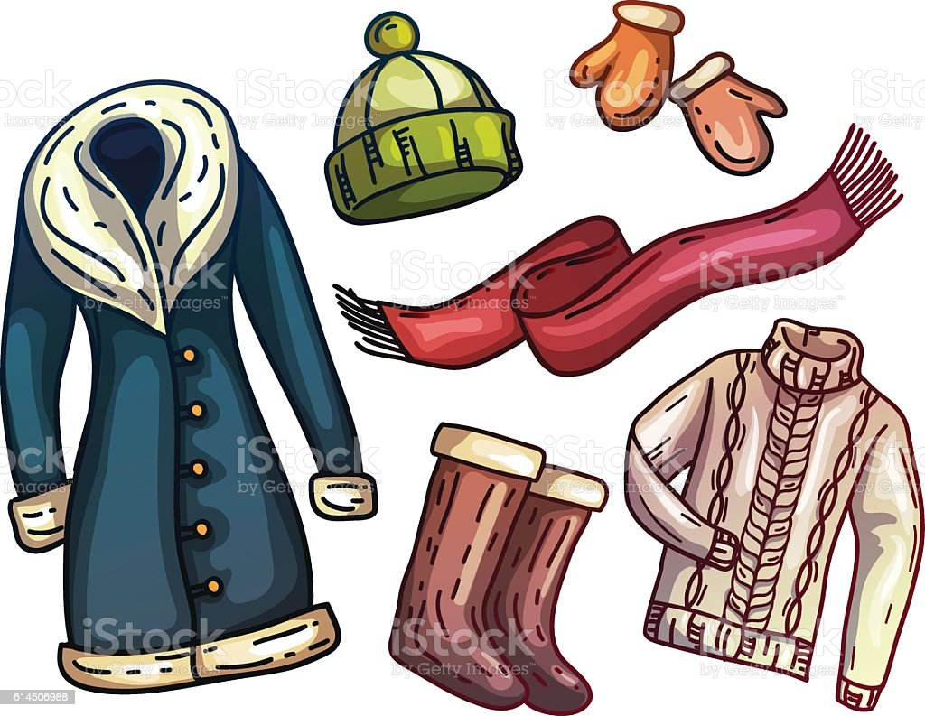 Set of warm winter clothes and accessories. Fashionable set clothes. vector art illustration