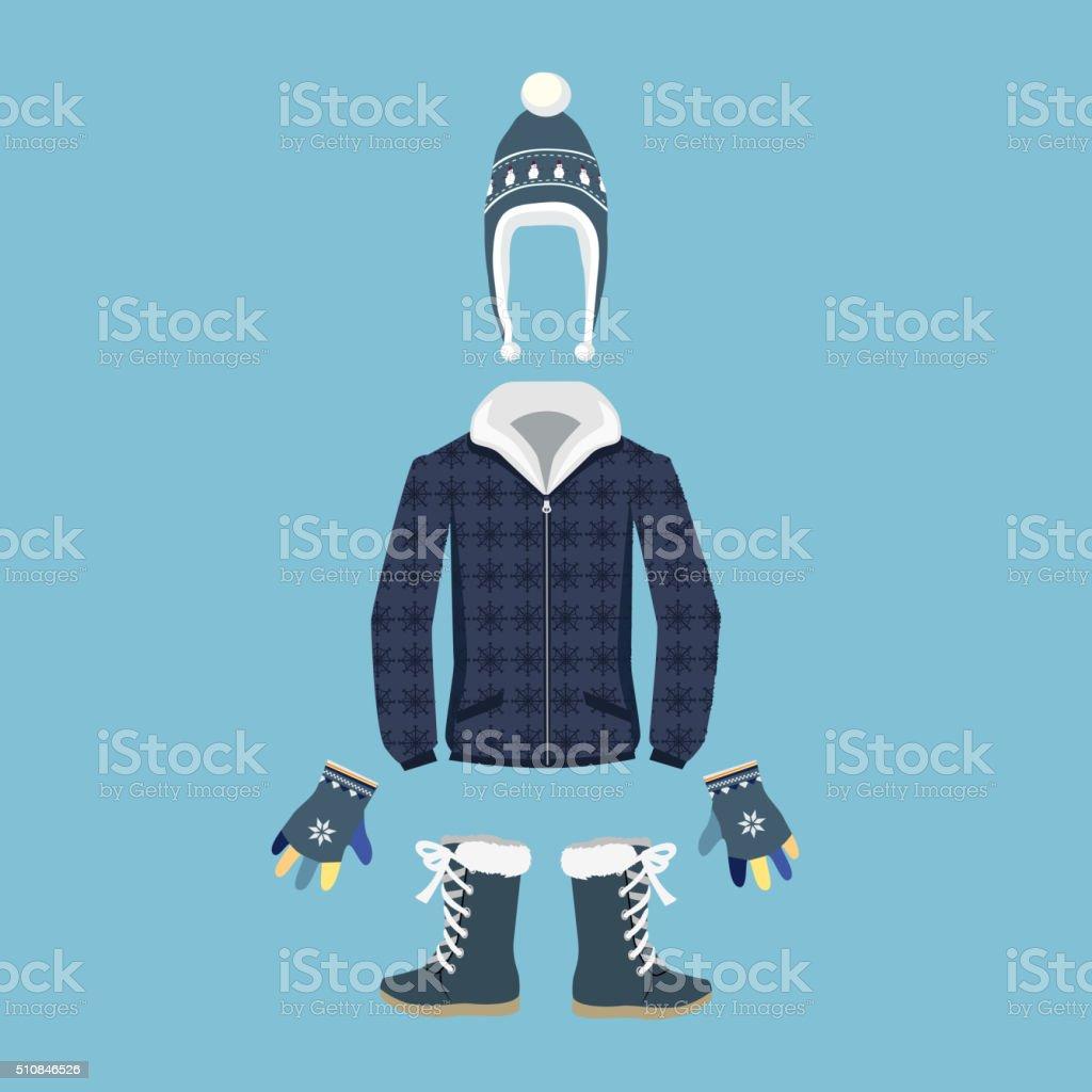 Set of Warm Winter Clothes Design vector art illustration