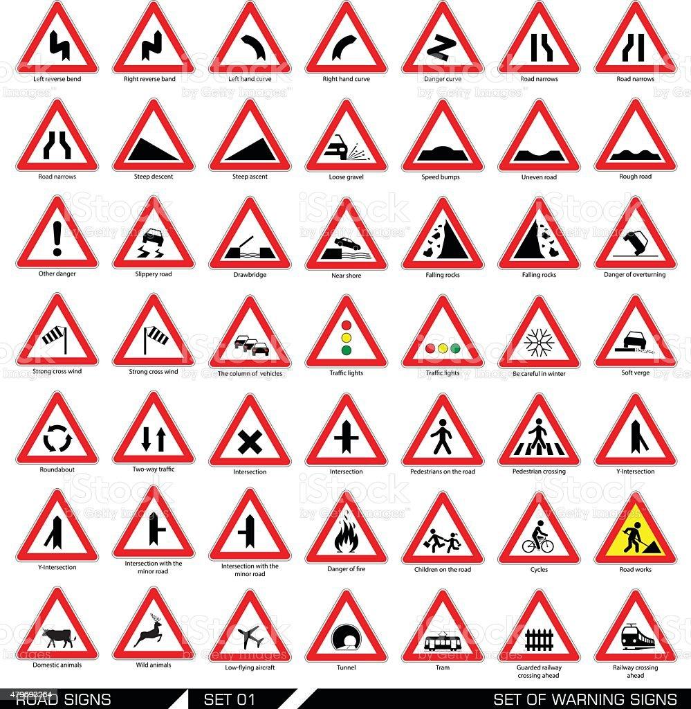 Set of warning road signs. vector art illustration