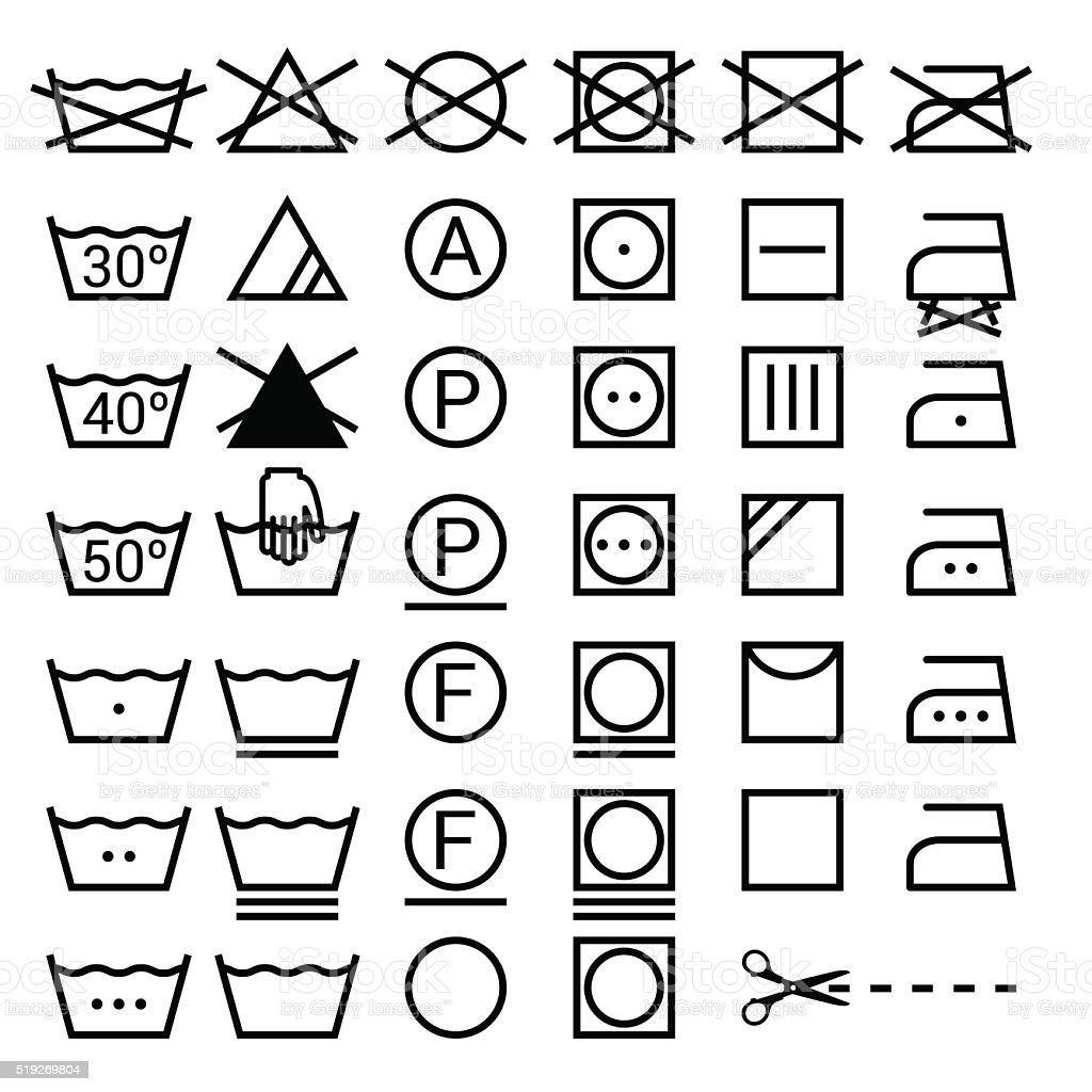 Set of washing symbols. Laundry icons isolated on white background vector art illustration