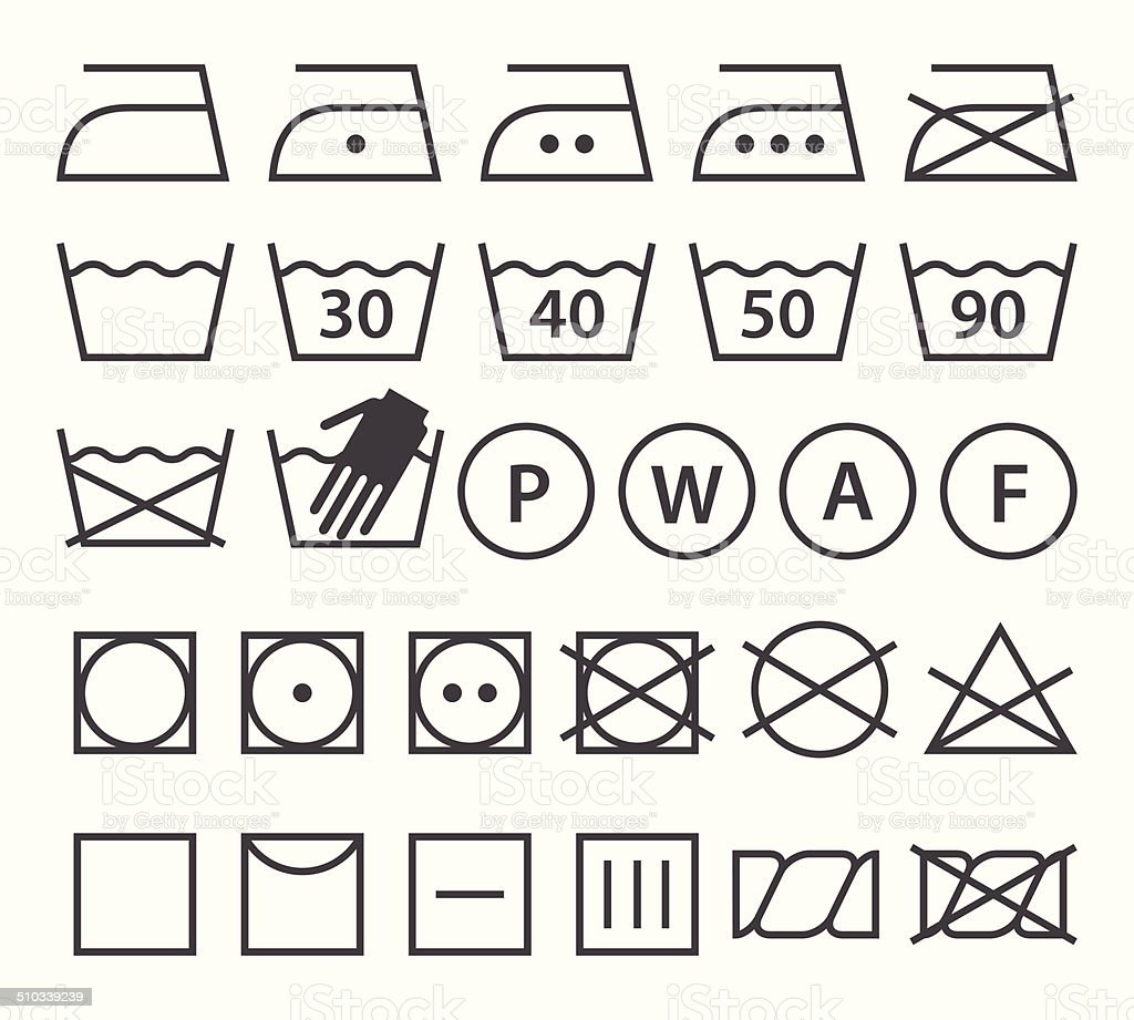 Set of washing symbols (Laundry icons) vector art illustration