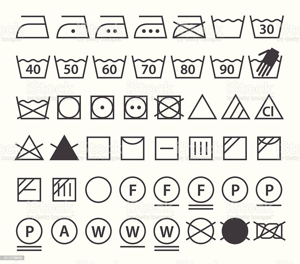 Set of washing symbols (Laundry icons) vector art illustration