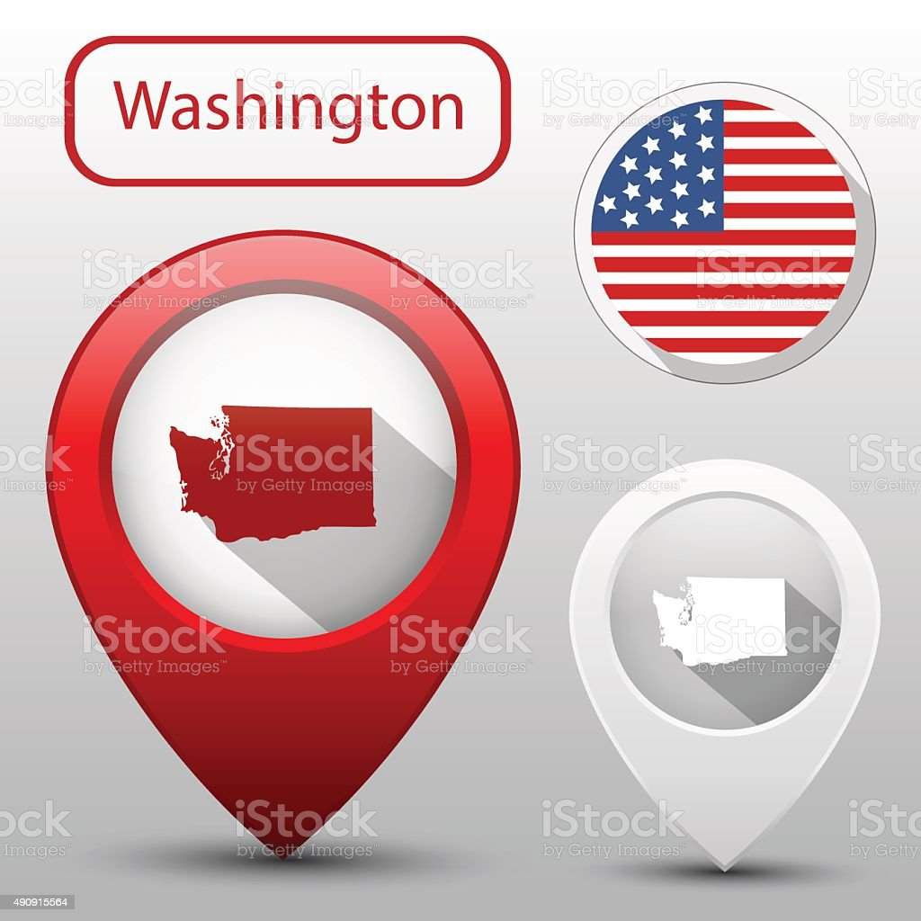 Set of Washington state with flag america and map pointer vector art illustration