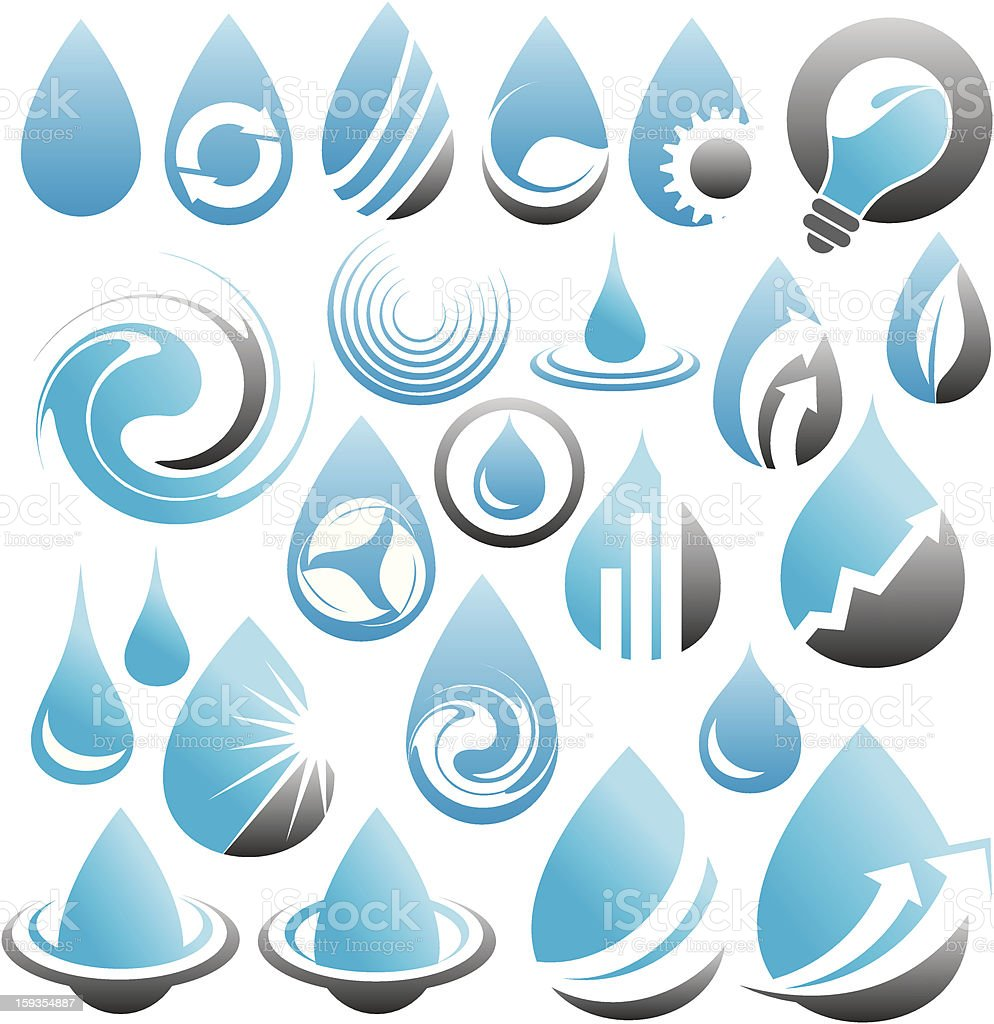 Set of water drops icons, symbols, logos and design elements vector art illustration