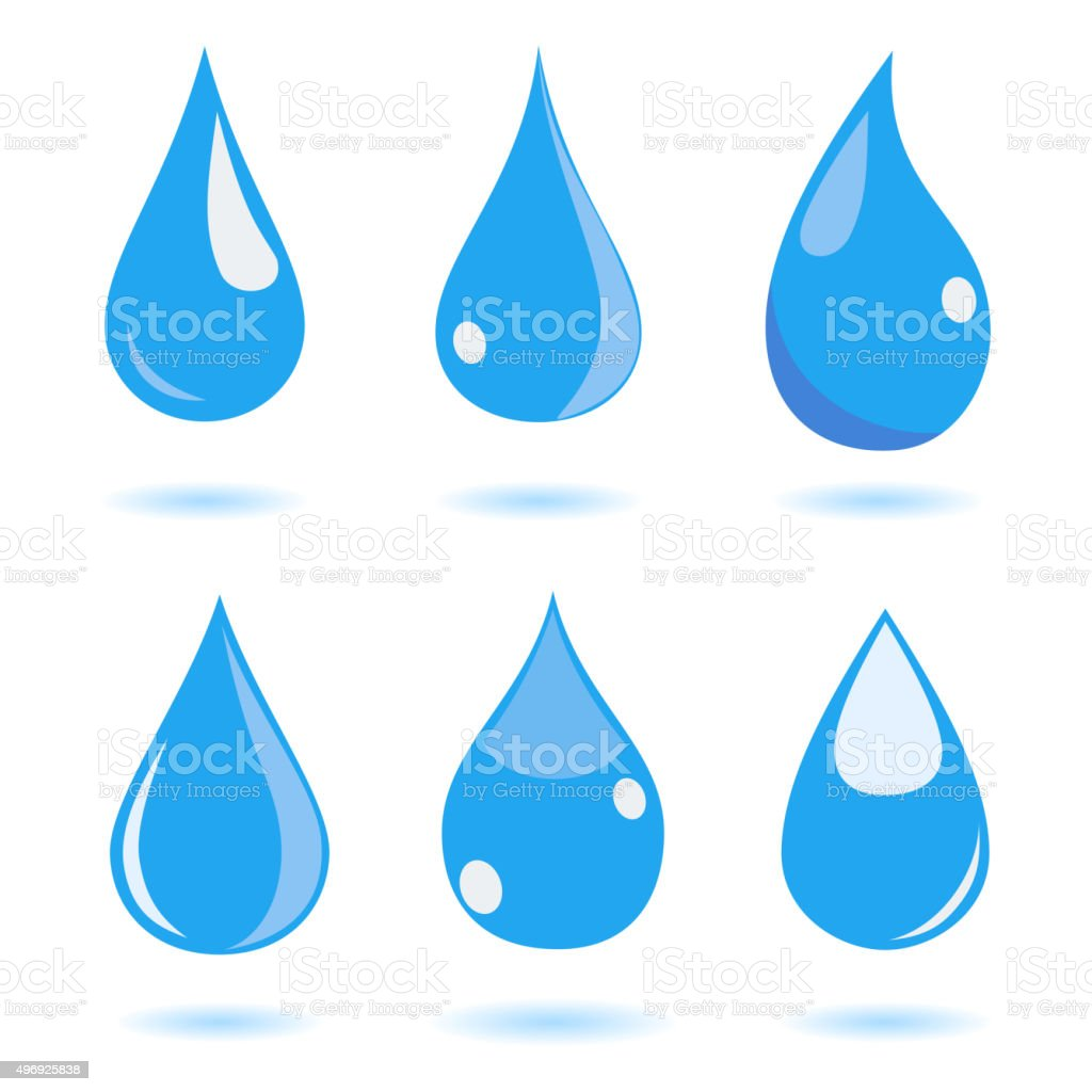 Set of water drops vector art illustration