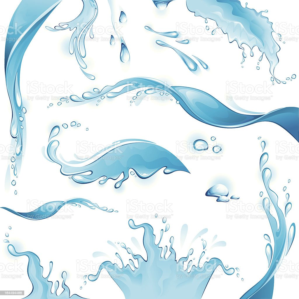 Set of water splashes and drops on white background vector art illustration