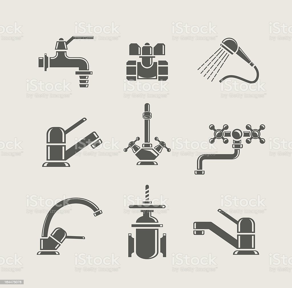 Set of water supply tool icons vector art illustration