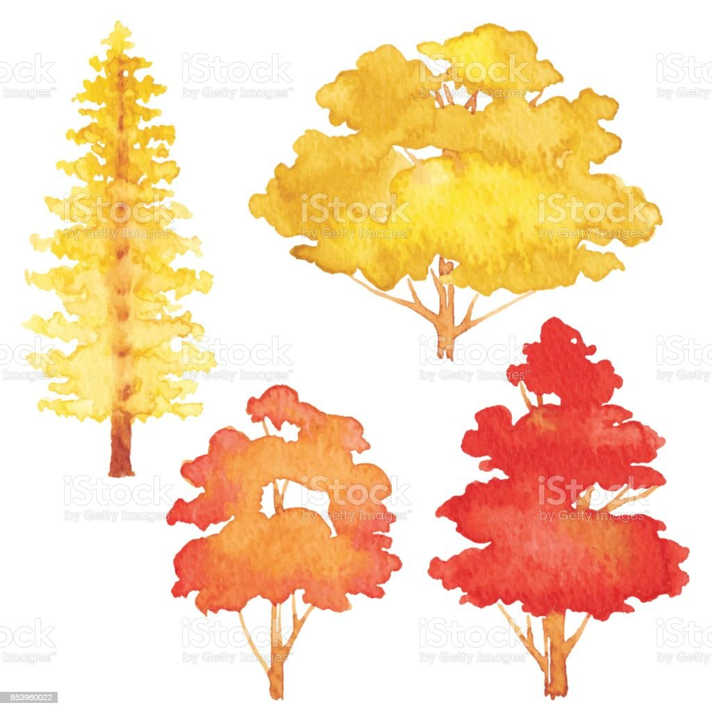 Set Of Watercolor Autumn Trees vector art illustration