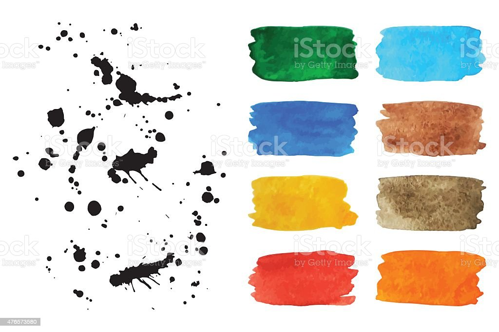 Set of watercolor banners and spray. Vector Illustration vector art illustration