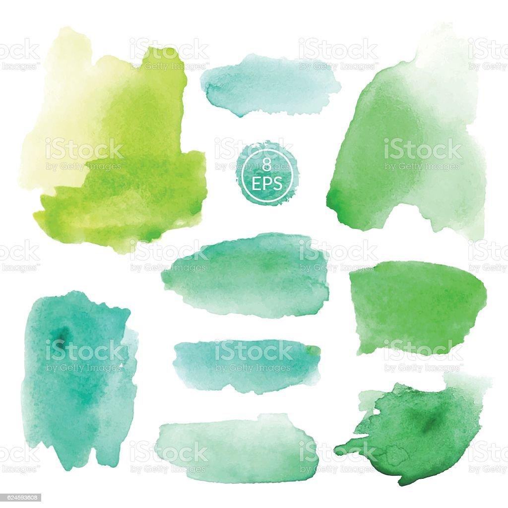 Set of watercolor blots vector art illustration