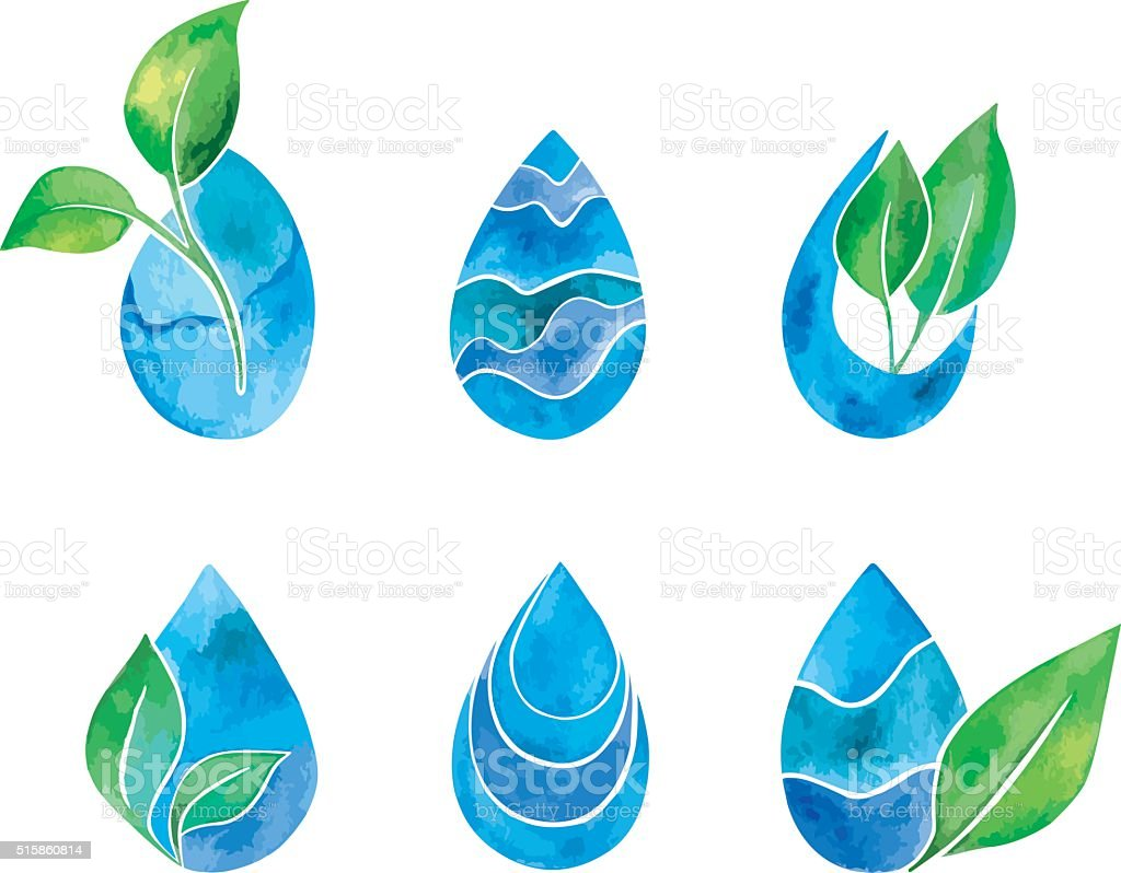 Set of watercolor blue splashes and drops. Blue watercolor spots vector art illustration