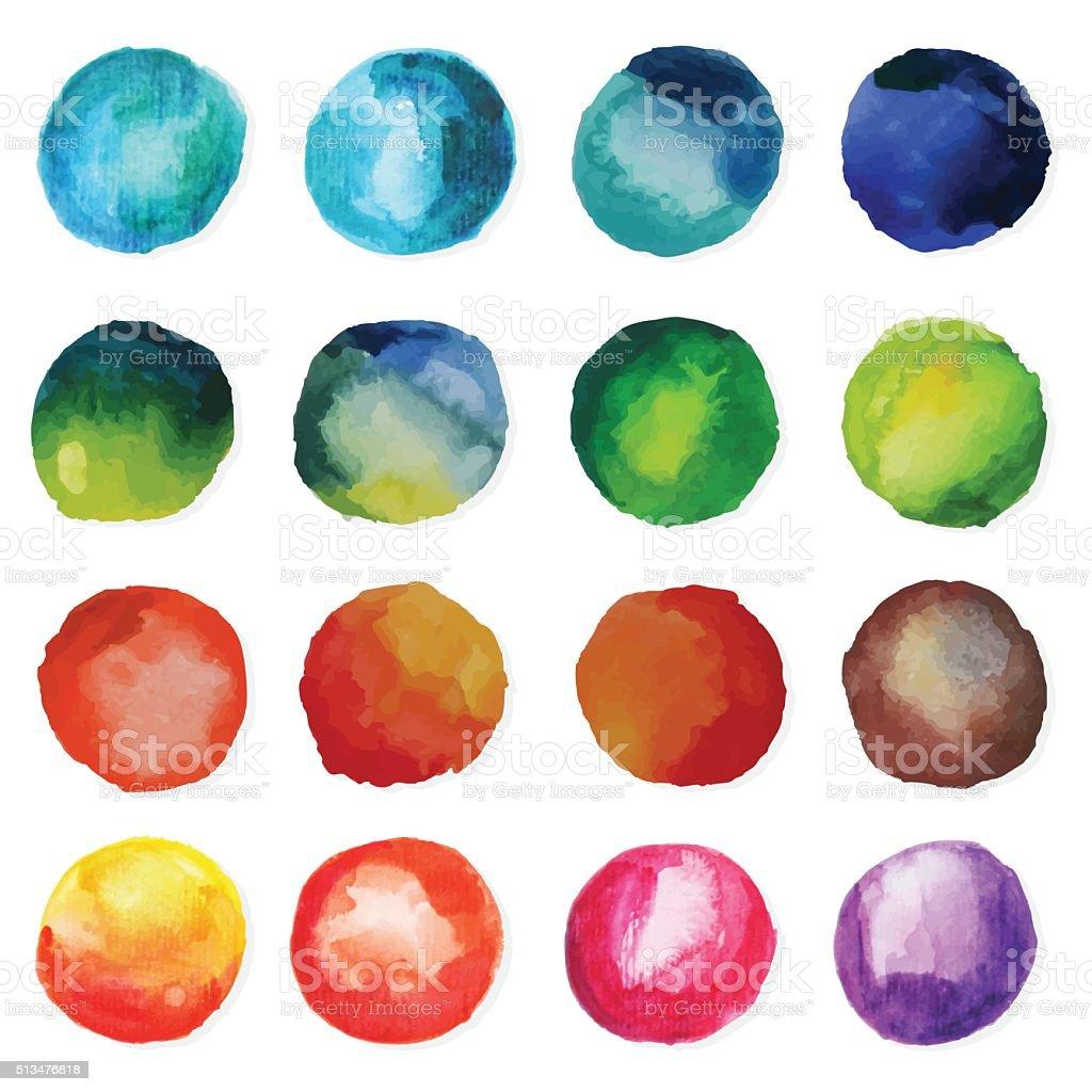 Set Of Watercolor Circles vector art illustration