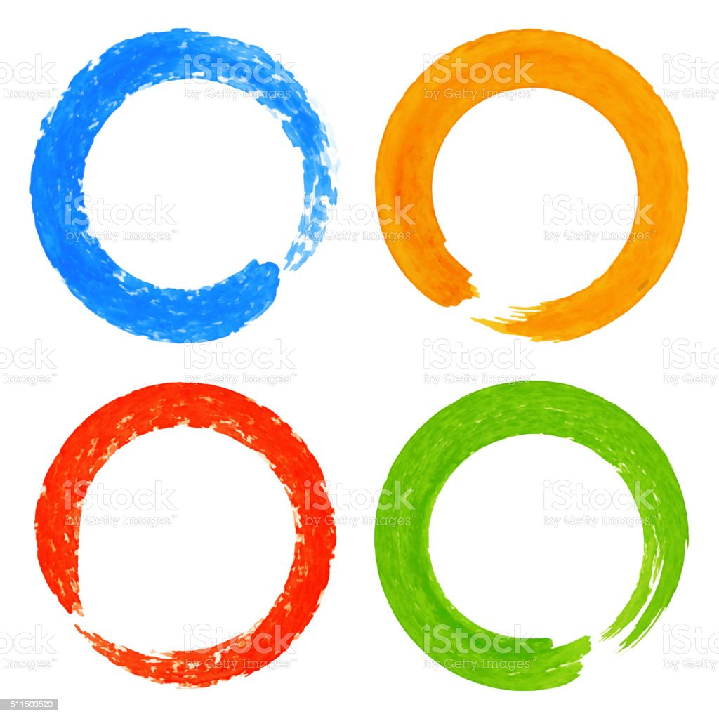 Set of Watercolor Colorful Grunge Circle Stains vector art illustration