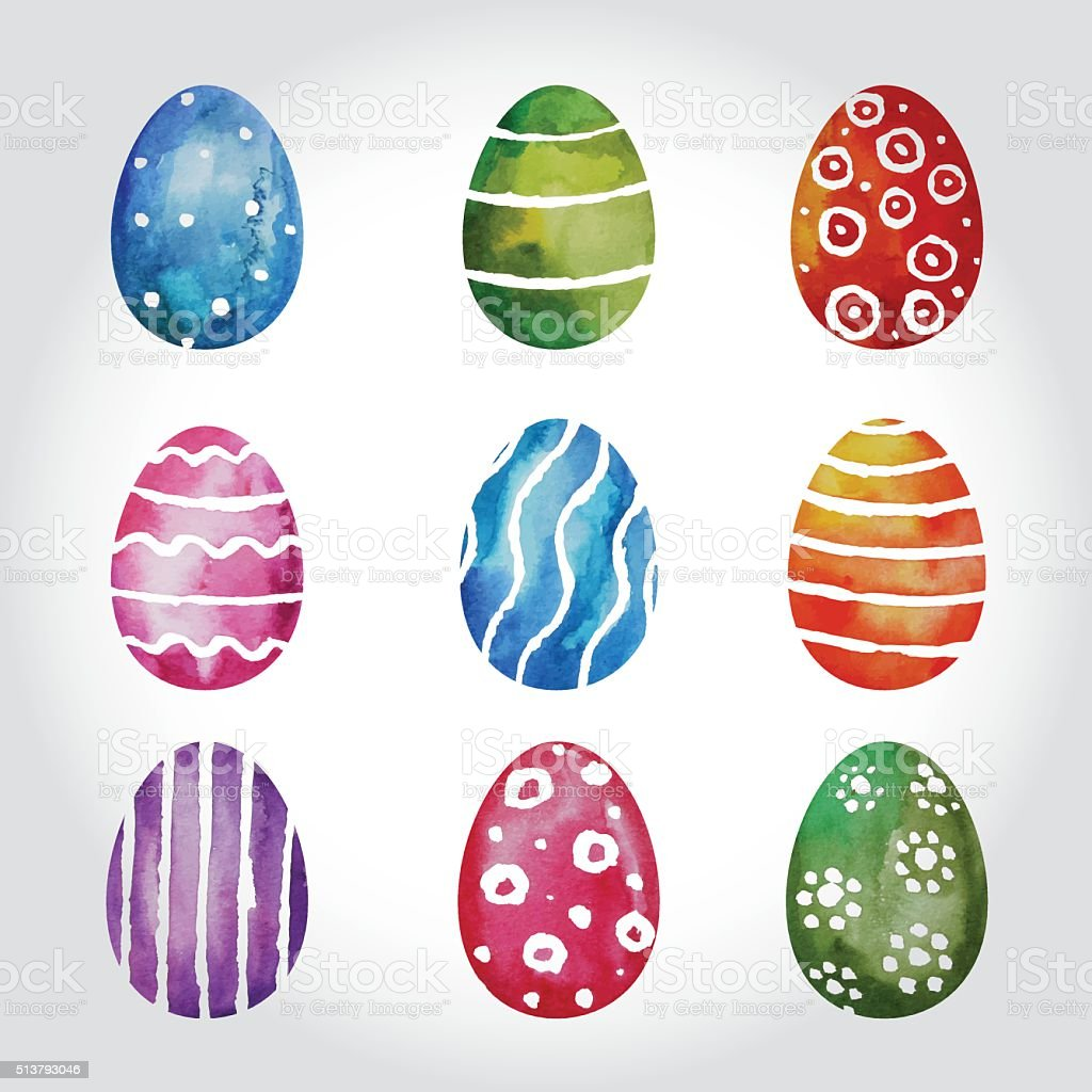 Set Of Watercolor Easter Eggs vector art illustration