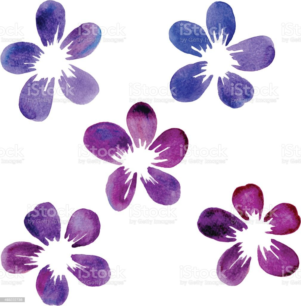 set of watercolor flowers royalty-free stock vector art