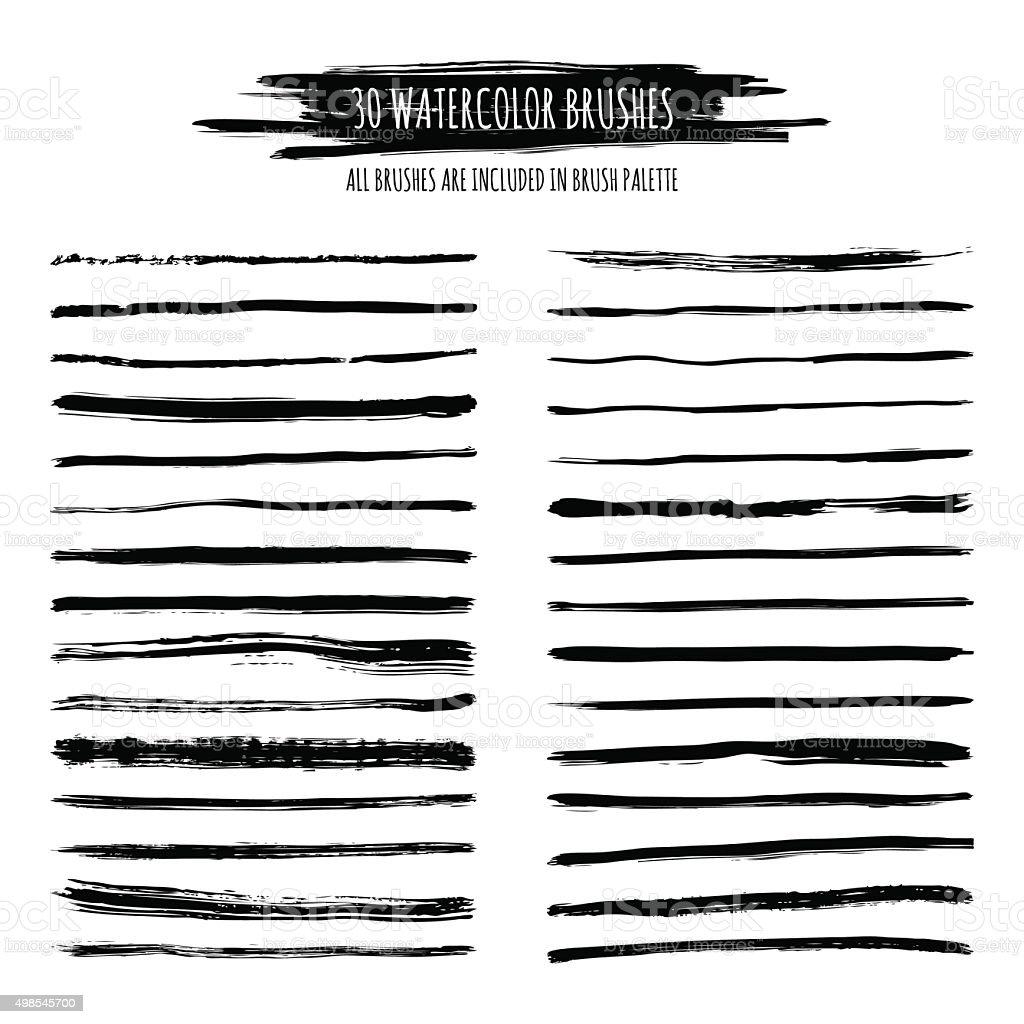 Set of watercolor, ink hand drawn brush strokes, borders, dividers. vector art illustration