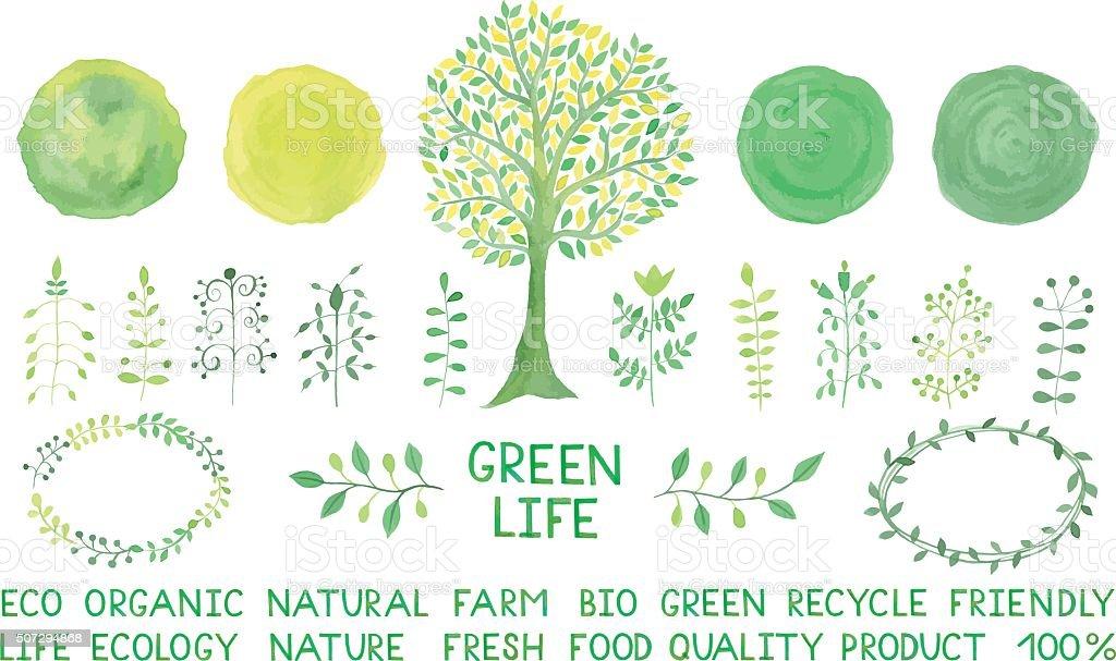 Set of watercolor logotypes. Green spots, labels, badges,leaves, vector art illustration