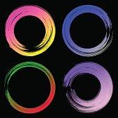 Set of watercolor modern circles