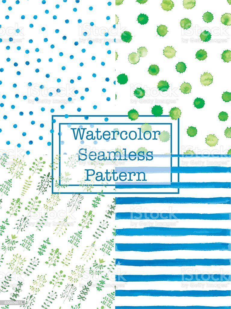 Set of watercolor seamless patterns blue and green color. vector art illustration