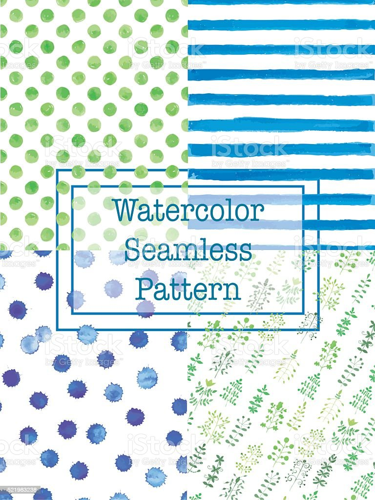 Set of watercolor seamless patterns green and blue color. vector art illustration