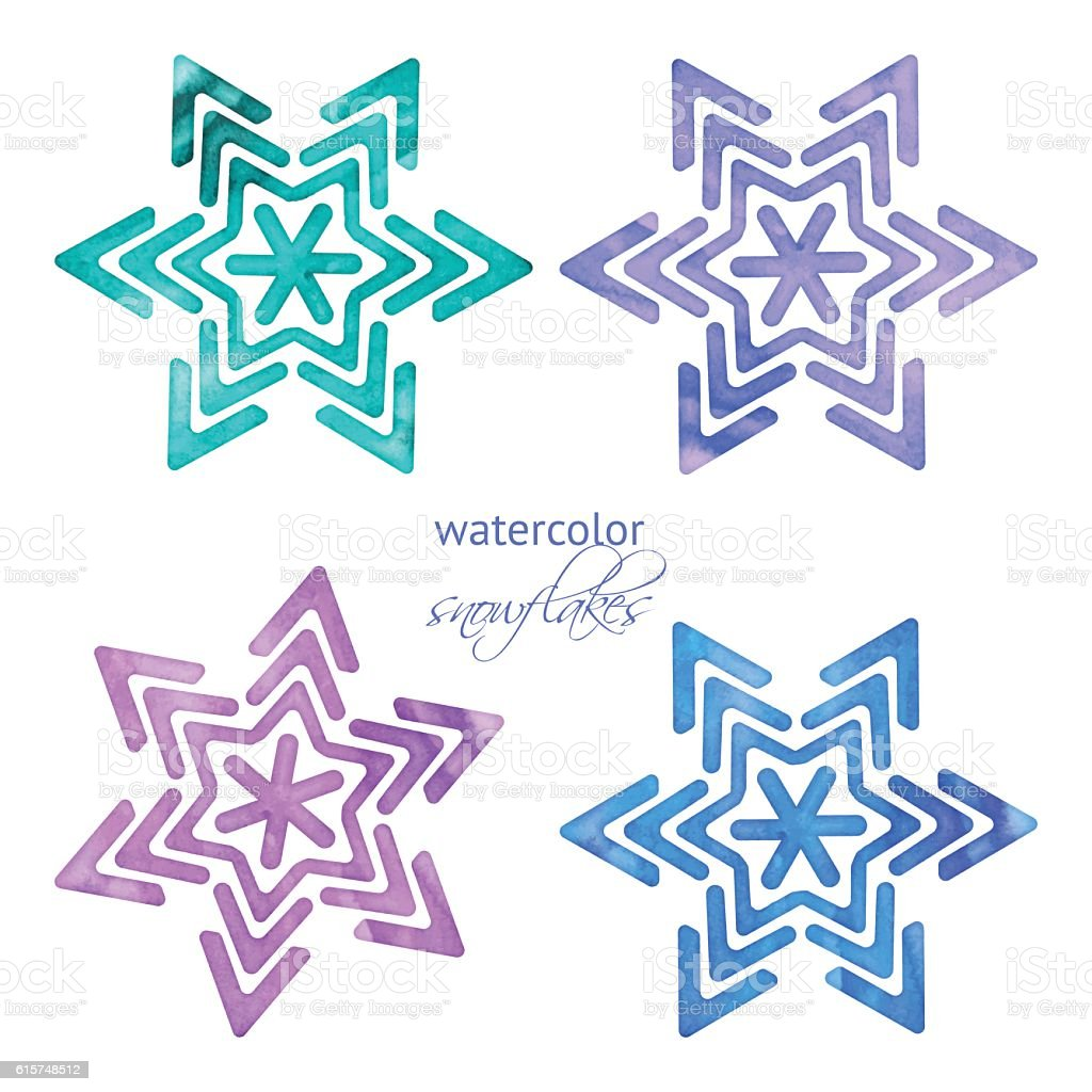 Set of watercolor snowflakes vector art illustration