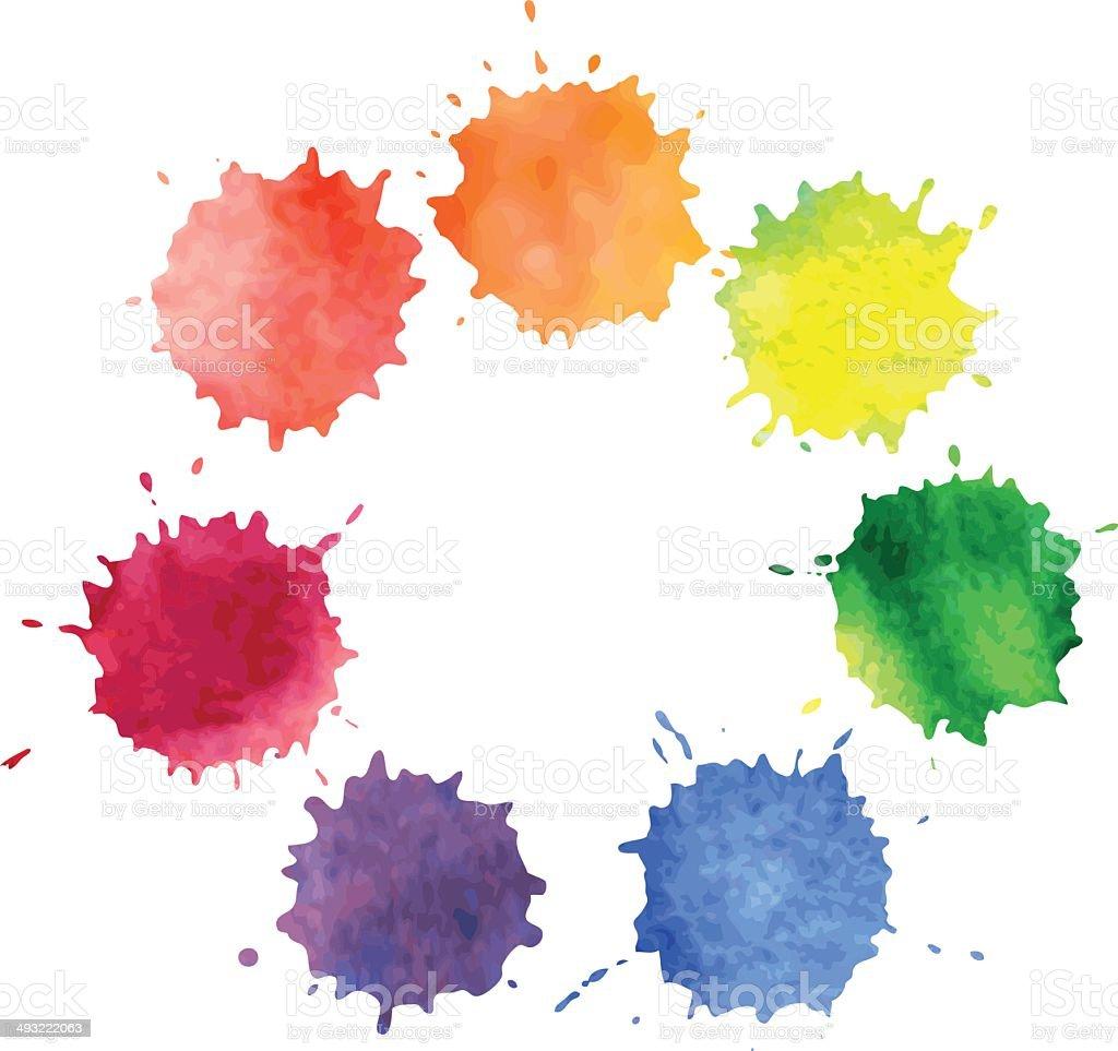 set of  watercolor spots vector art illustration