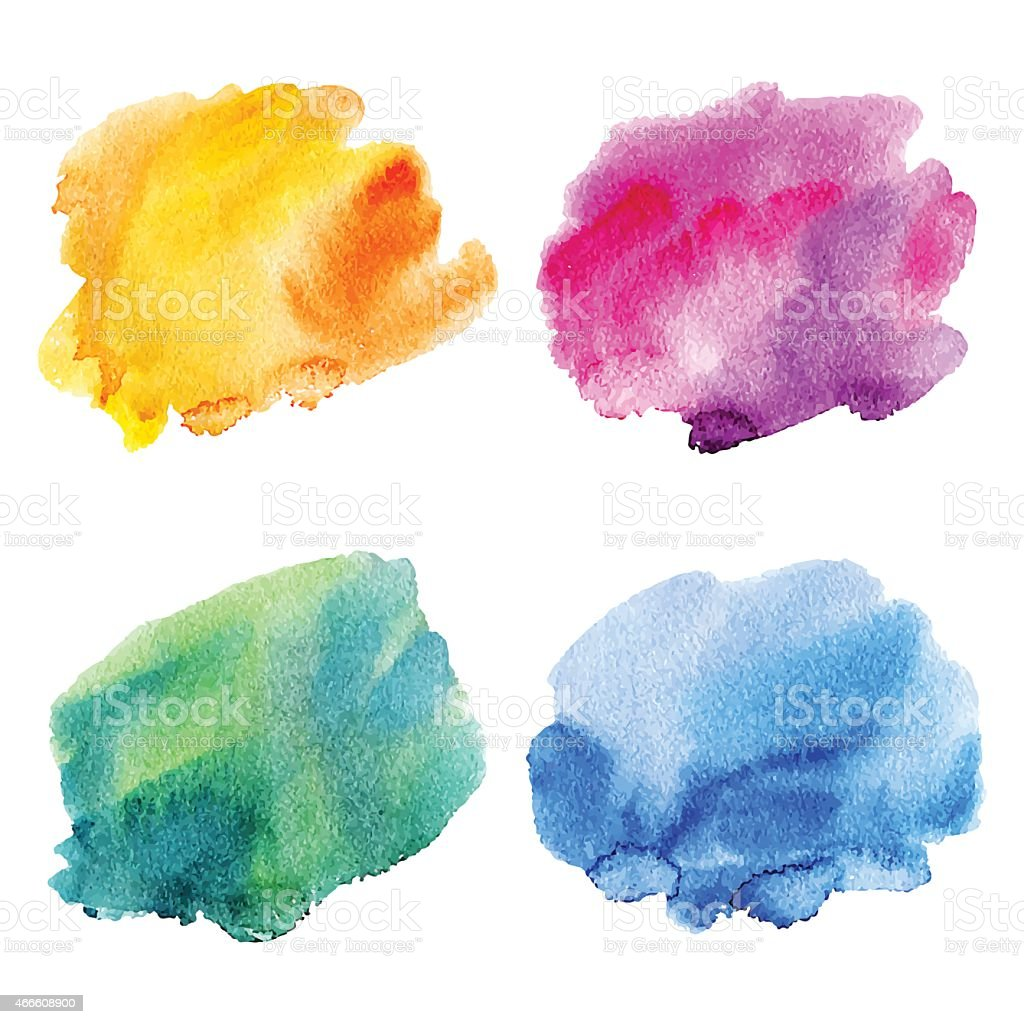Set of watercolor stains. vector art illustration