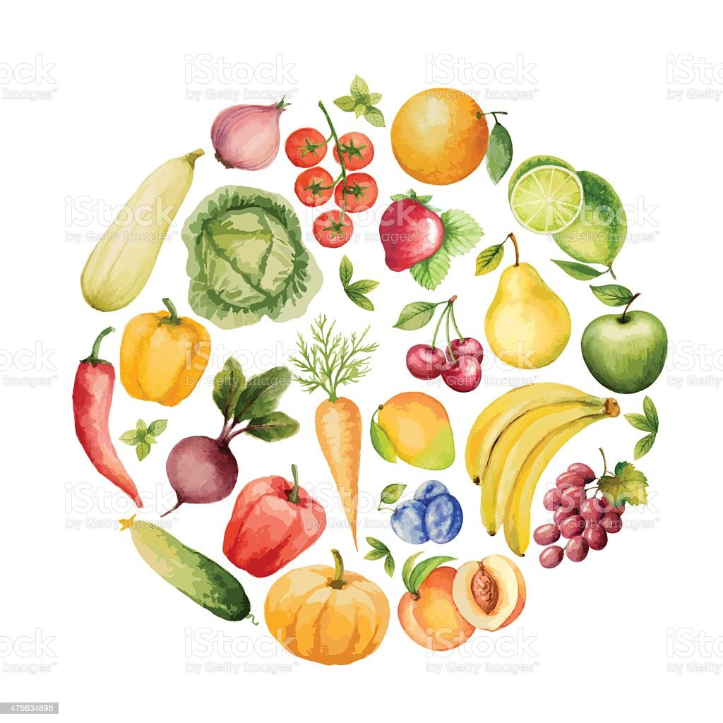Set of watercolor vegetables and fruits. vector art illustration